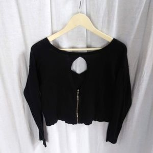 Express cropped sweater with zipper & back detail